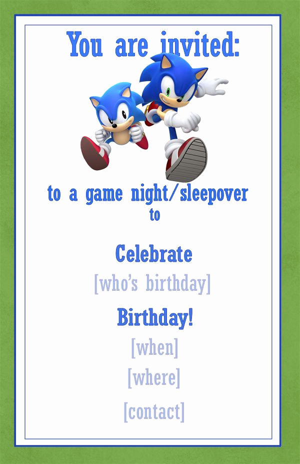 Sonic the Hedgehog Invitation Template Awesome Best 25 Invitation Examples Ideas On Pinterest