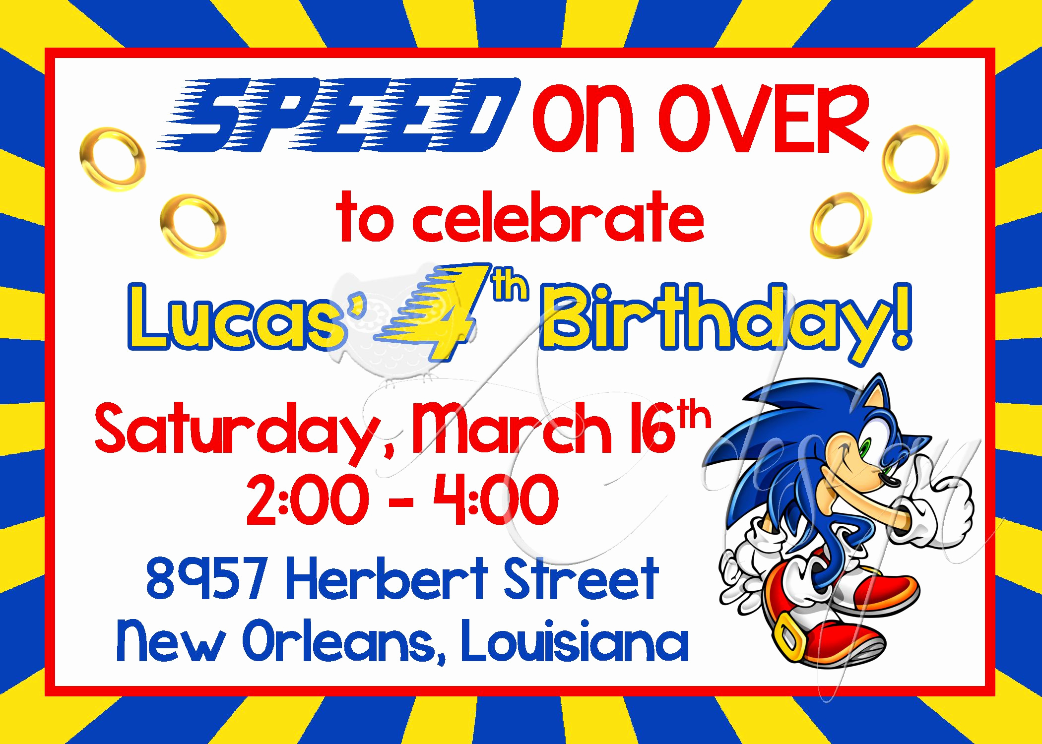 Sonic the Hedgehog Invitation Template Awesome sonic the Hedgehog Birthday Invitation Printable
