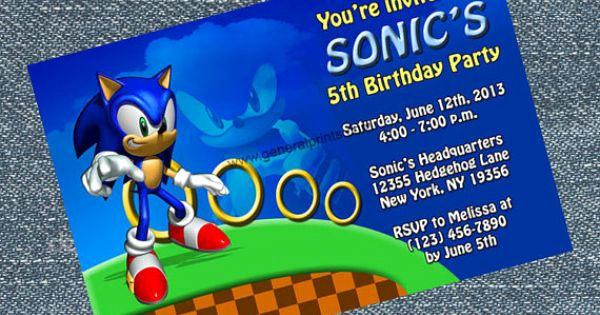 Sonic the Hedgehog Invitation Template Beautiful sonic Invitations sonic the Hedgehog Birthday Invites