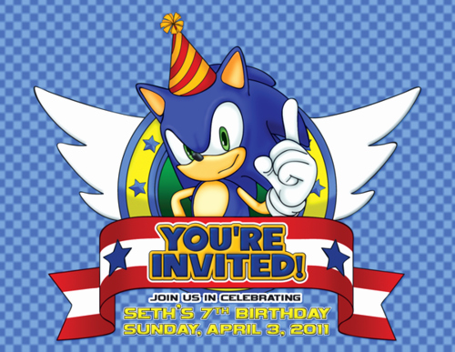 Sonic the Hedgehog Invitation Template Beautiful sonic the Hedgehog Birthday Invitation Front