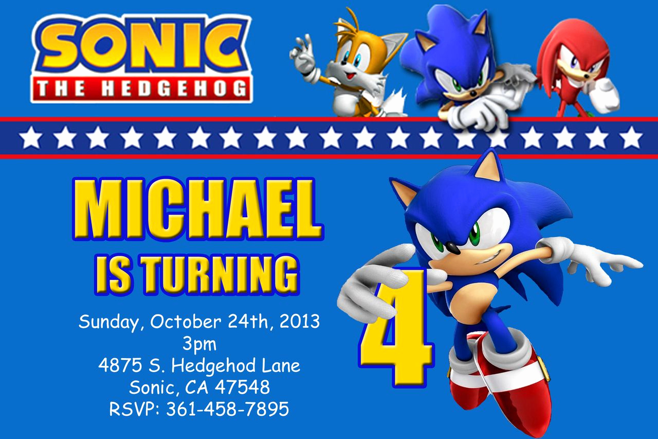 Sonic the Hedgehog Invitation Template Best Of Sega sonic the Hedgehog Birthday Invitation