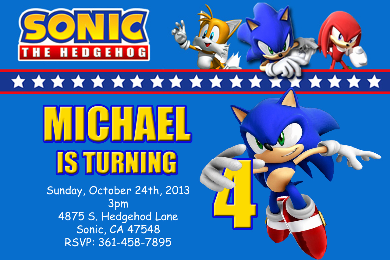 Sonic the Hedgehog Invitation Template Best Of sonic the Hedgehog Birthday Invitations