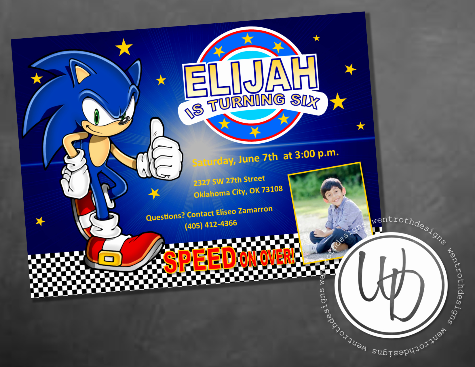 Sonic the Hedgehog Invitation Template Best Of sonic the Hedgehog Boy Birthday Invitation by Wentroth