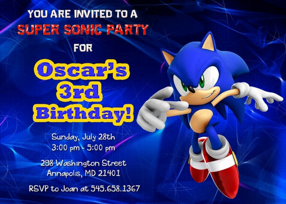Sonic the Hedgehog Invitation Template Elegant sonic Birthday Party Invitation Printable by