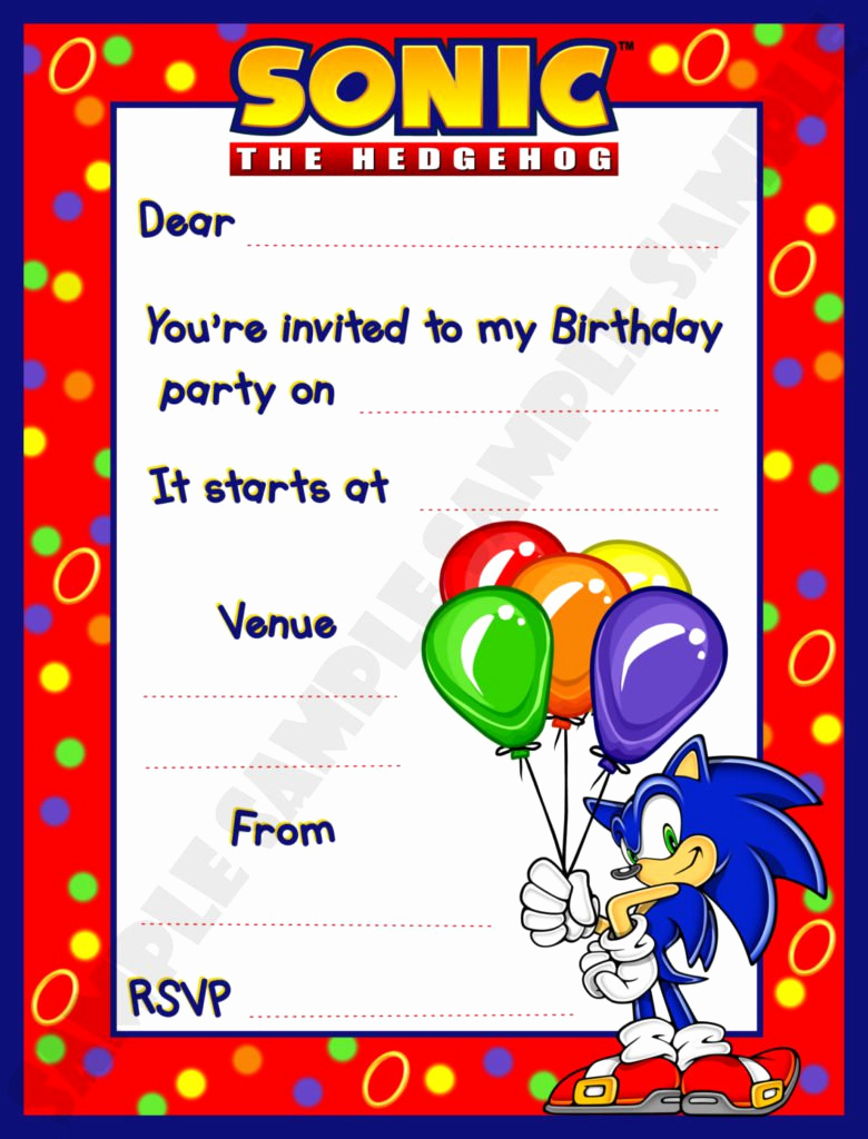 Sonic the Hedgehog Invitation Template Fresh sonic Birthday Invitations