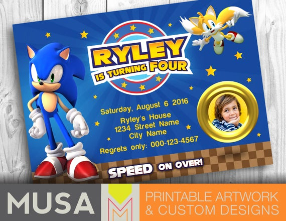 Sonic the Hedgehog Invitation Template Fresh sonic the Hedgehog Printable Invitation with Photo