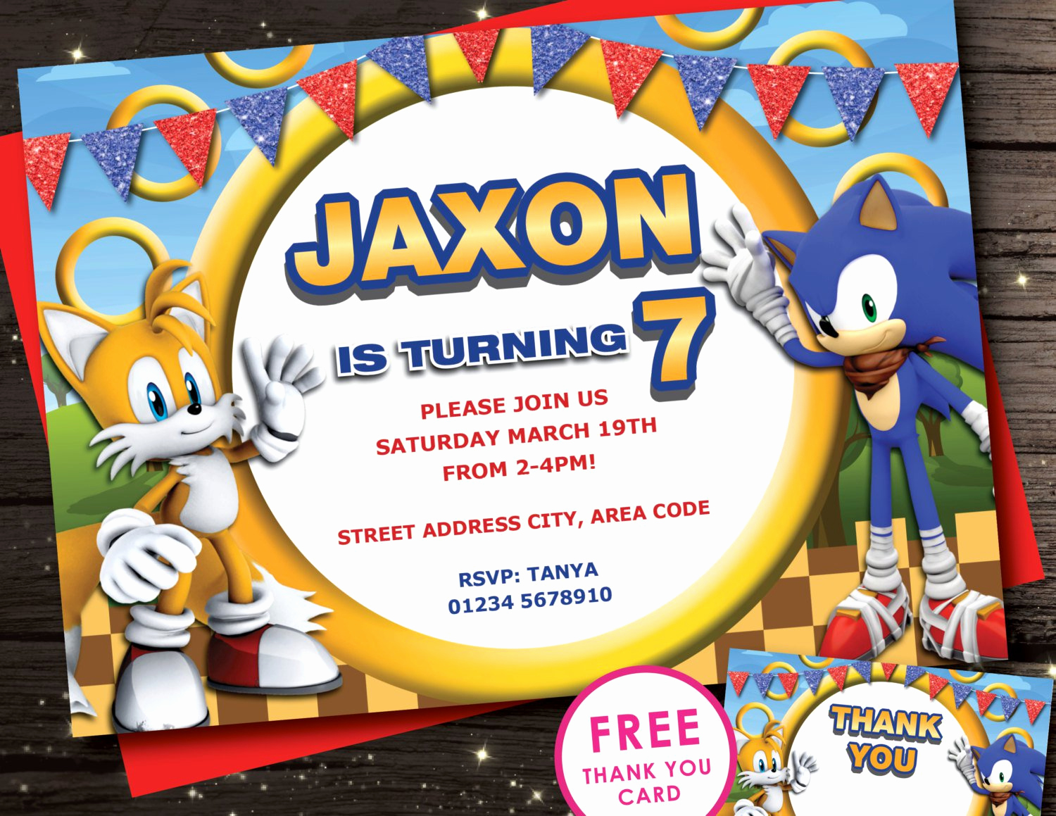 Sonic the Hedgehog Invitation Template New sonic Birthday Invitations