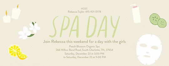 Spa Invitation Template Free Awesome Invitations Free Ecards and Party Planning Ideas From Evite