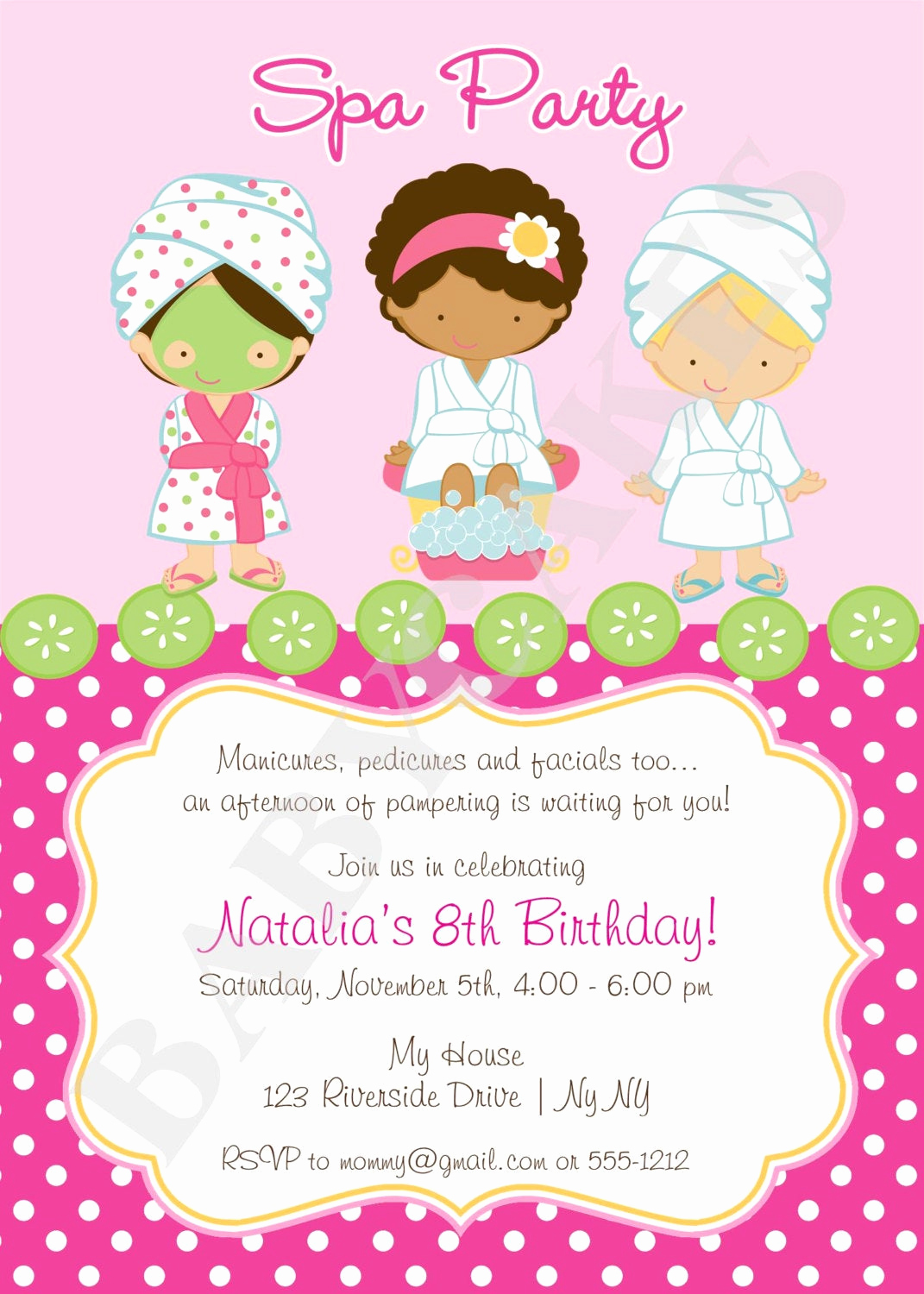 Spa Invitation Template Free Awesome Spa Party Invitation Diy Print Your Own Matching by