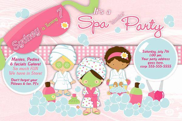 Spa Invitation Template Free Beautiful Customized Printable Spa Slumber Party Birthday Invitation