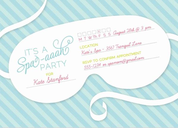 Spa Invitation Template Free Elegant Spa themed Bridal Shower Ideas