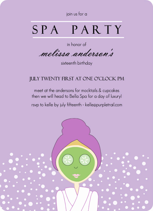 Spa Invitation Template Free Inspirational Purple Spa Girl Birthday Party Invitation Template