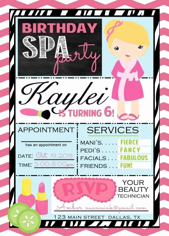 Spa Invitation Template Free Luxury Custom Spa Salon Make Over Birthday Party Invitations