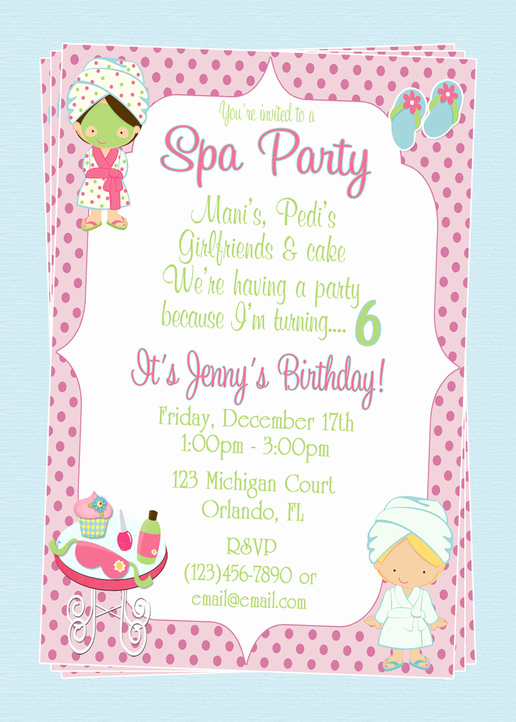 Spa Invitation Template Free New Custom Spa themed Birthday Party Invitations Diy Printable