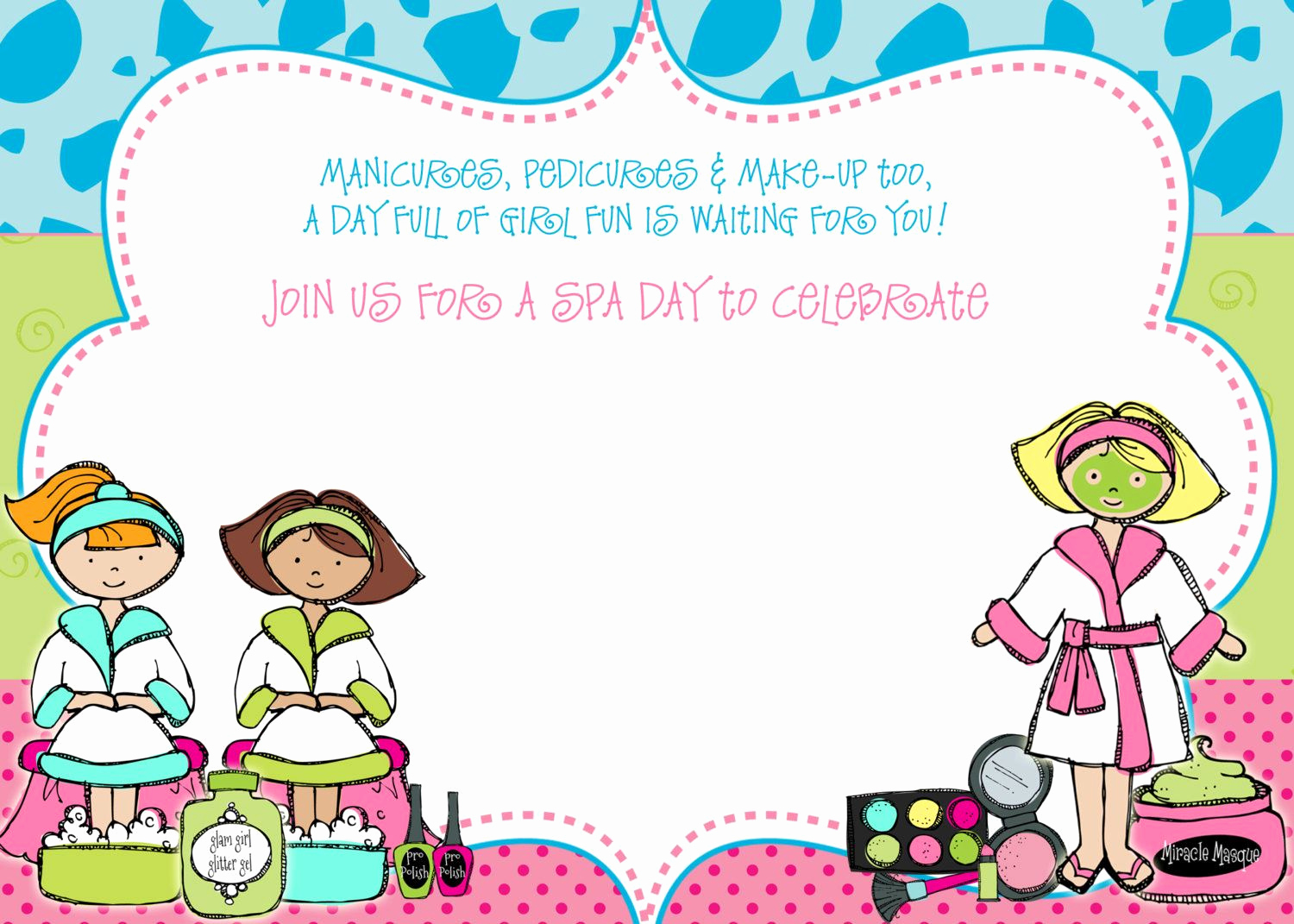 Spa Party Invitation Template Free Awesome Get Free Template Free Spa Party Birthday Invitation