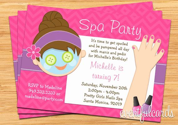 Spa Party Invitation Template Free Awesome Spa Party Kids Birthday Invitation Mani Pedi