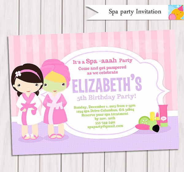 Spa Party Invitation Template Free Beautiful 22 Beautiful Spa Party Invitations & Designs Psd Ai