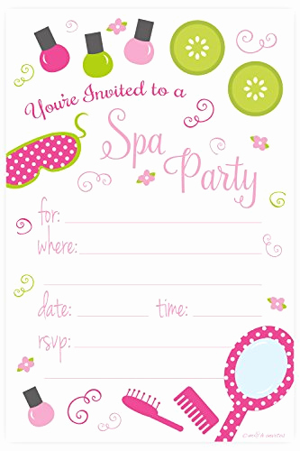 Spa Party Invitation Template Free Beautiful Kids Spa Party Supplies Amazon