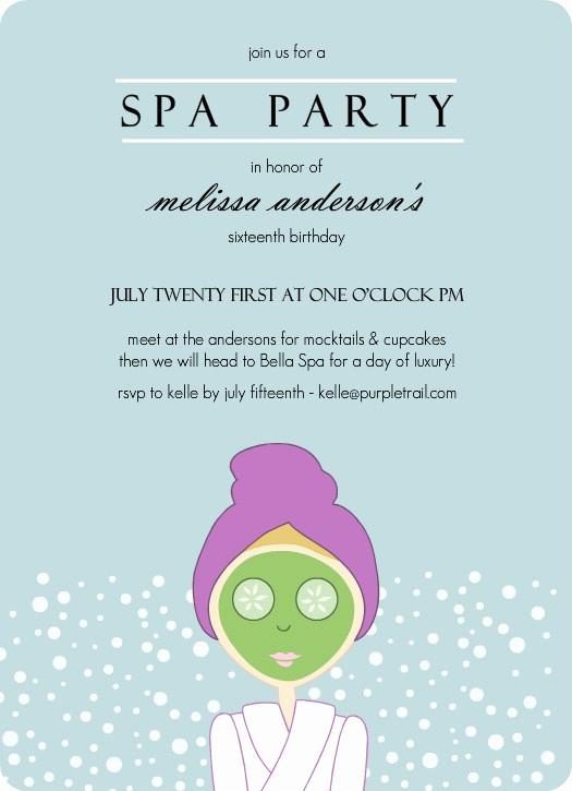 Spa Party Invitation Template Free Elegant Aqua Spa Girl Birthday Party Invitation by Purpletrail