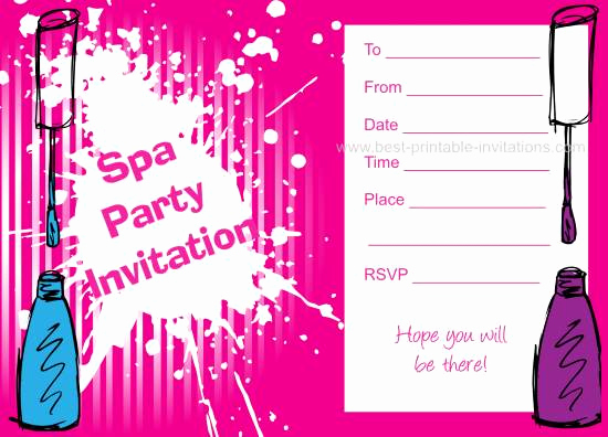 Spa Party Invitation Template Free Elegant Spa Birthday Party Invitations
