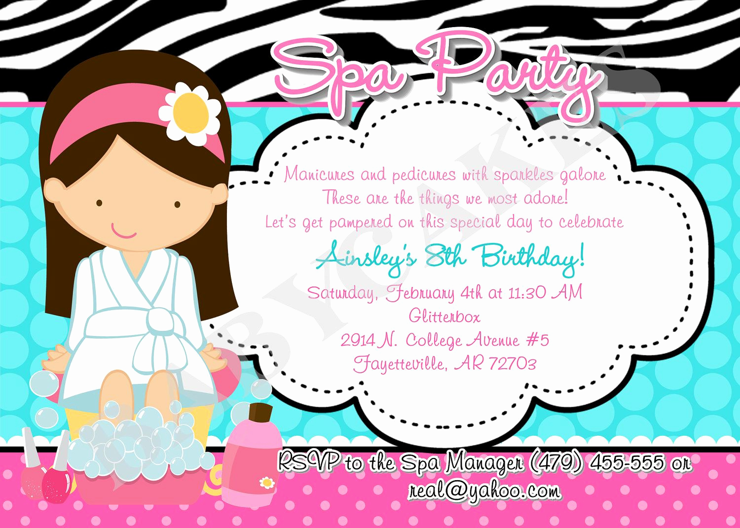 Spa Party Invitation Template Free Elegant Spa Party Invitation Birthday Diy Print Your Own