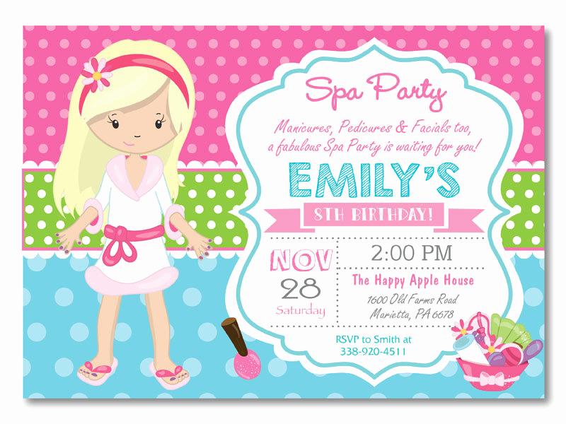 Spa Party Invitation Template Free Luxury Spa Party Invitation Spa Birthday Party Invitation Pajama