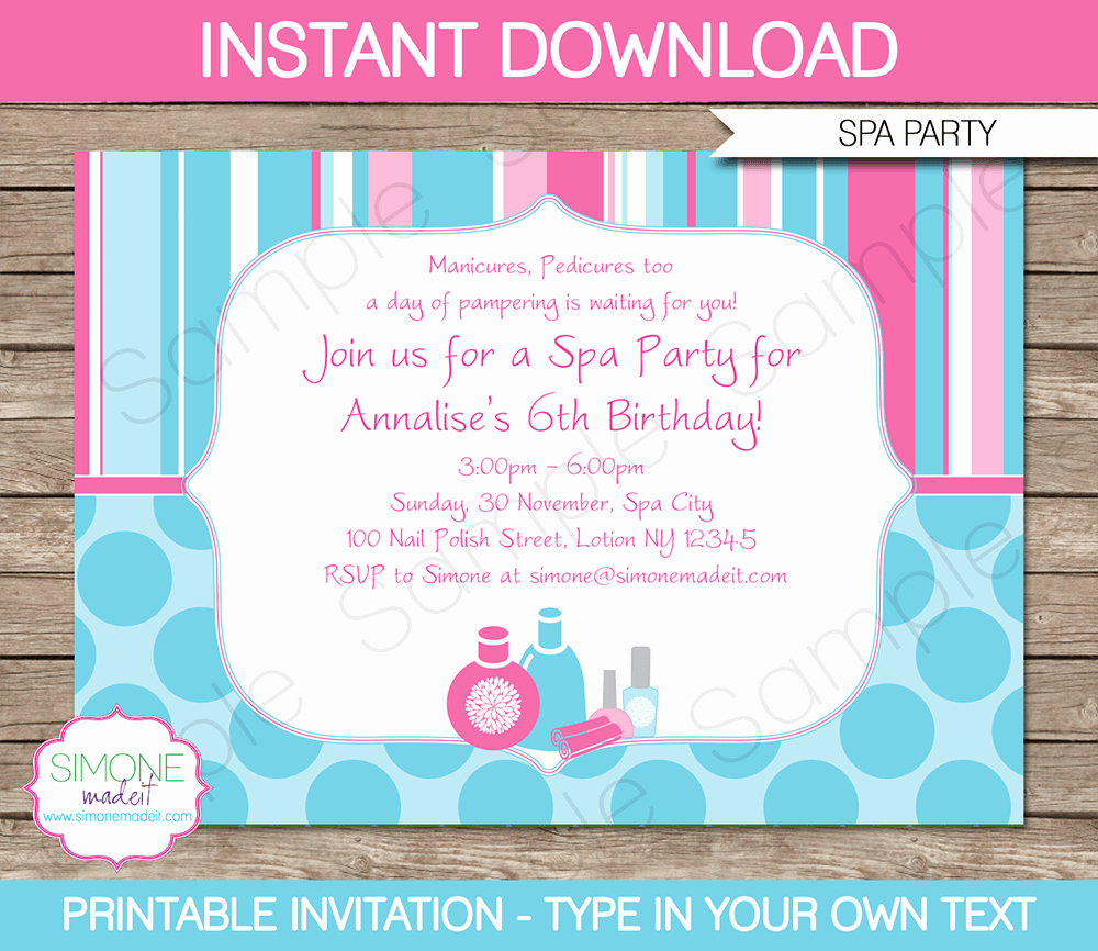 Spa Party Invitation Template Free Luxury Spa Party Invitations Template