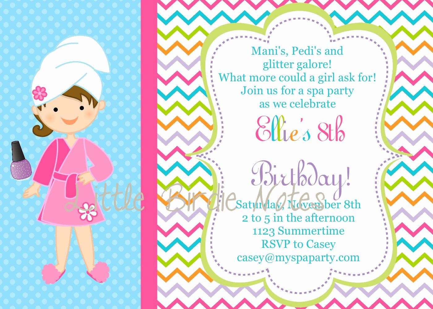 Spa Party Invitation Template Free New Free Printable Spa Birthday Party Invitations