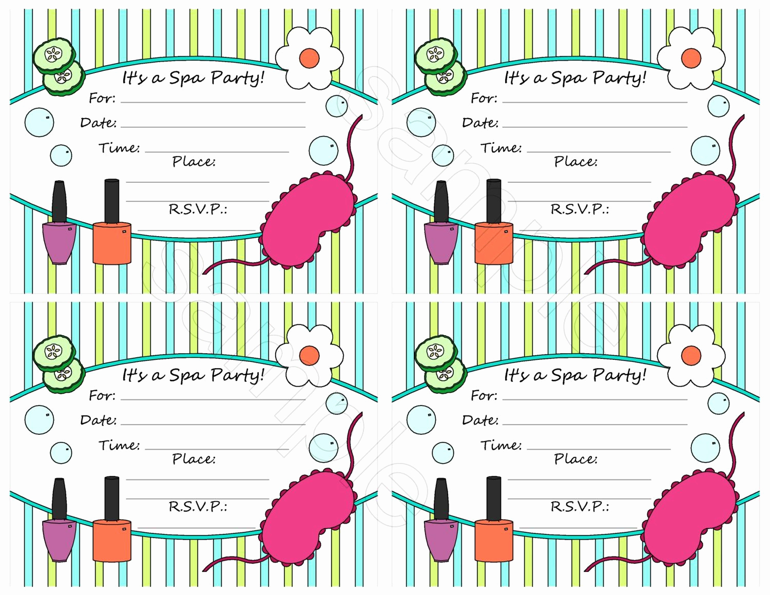 Spa Party Invitation Template Free New Free Spa Party Invitation Template