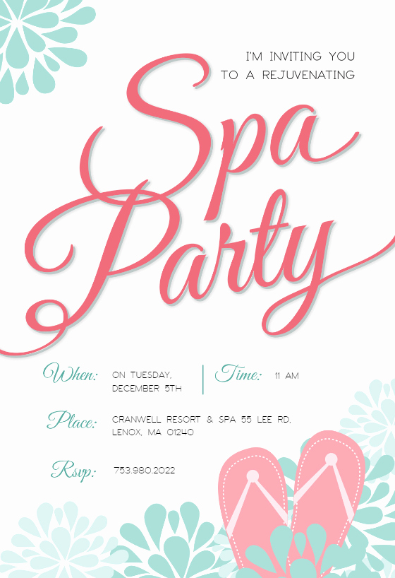 Spa Party Invitation Templates Best Of Spa Splendors Party Invitation Template Free