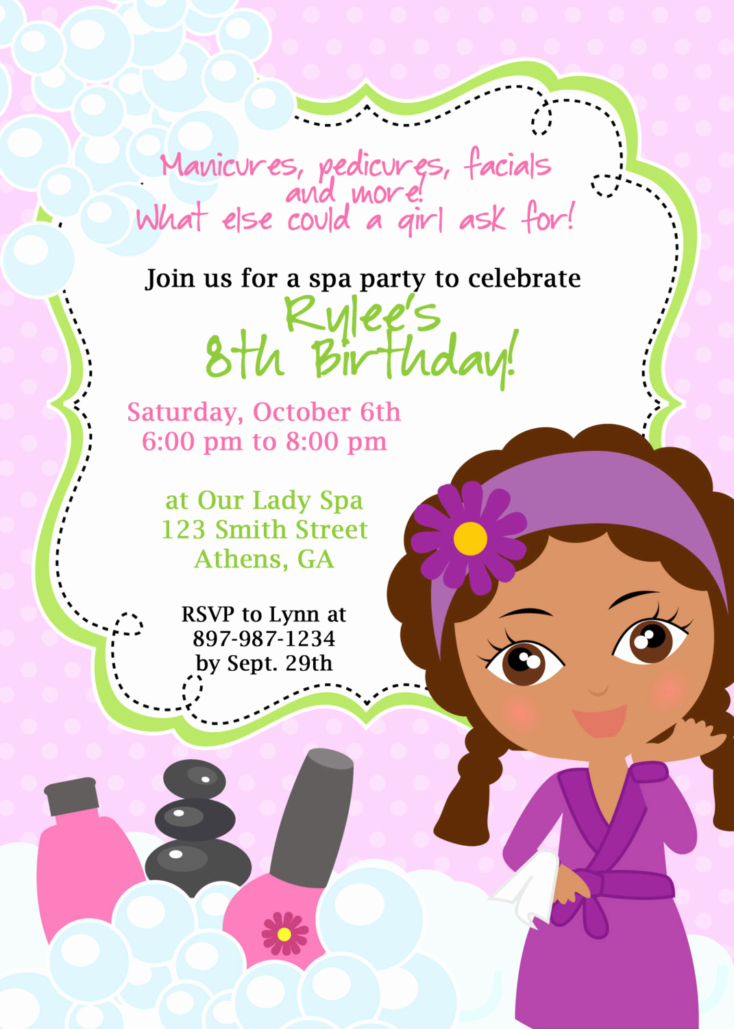 Spa Party Invitation Templates Inspirational Diy Sassy Spa Party Invitation African American Little Girl