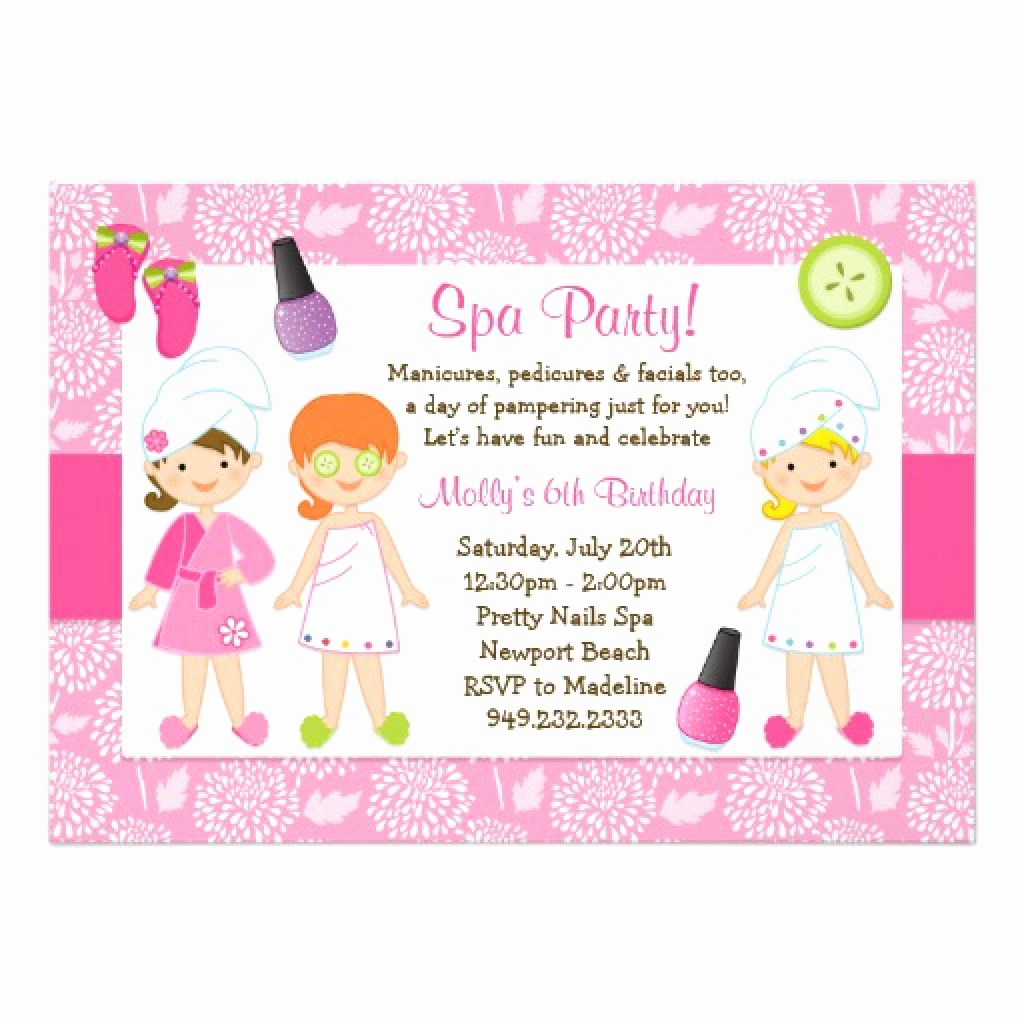 Spa Party Invitation Templates Luxury Sleepover Spa Party Invitations Templates Free 4