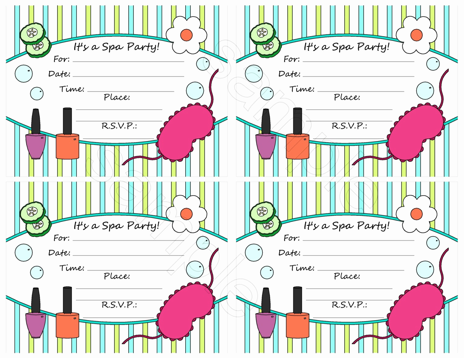 Spa Party Invitation Templates New Unavailable Listing On Etsy