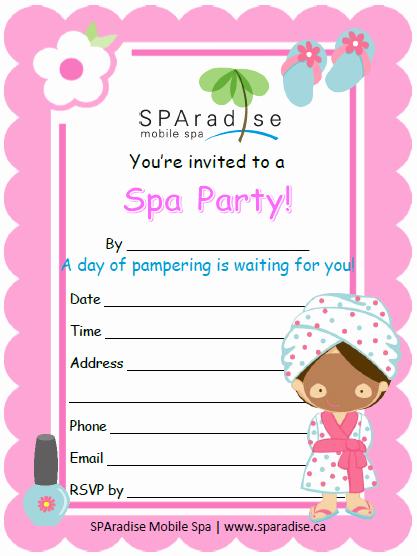 Spa Party Invitation Templates Unique Free Printable Spa Party Invitation by Sparadise Mobile