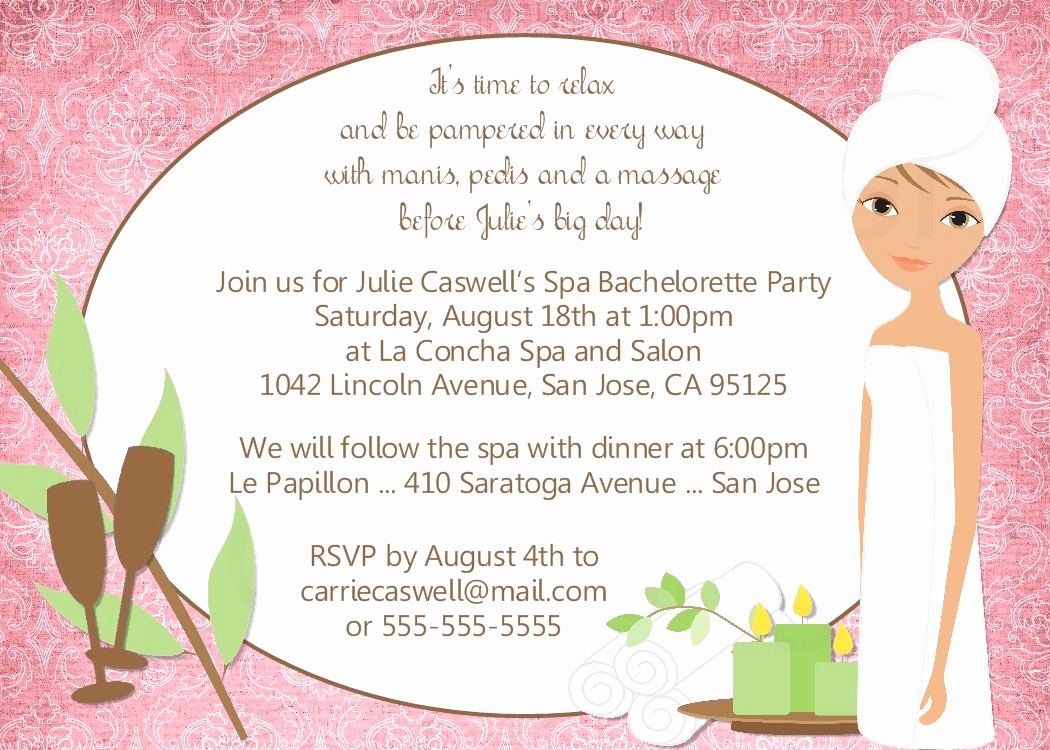 Spa Party Invitation Wording Awesome Bear River Greetings Spa Party Invitation