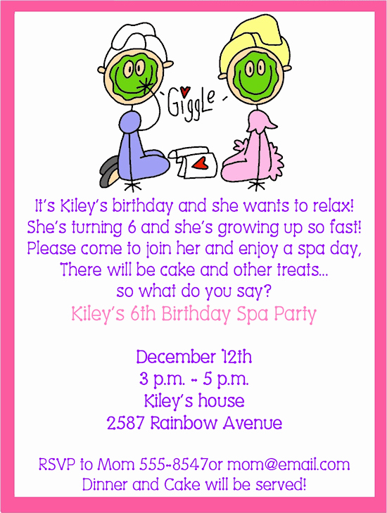 Spa Party Invitation Wording Awesome Girls Spa Party Invitations