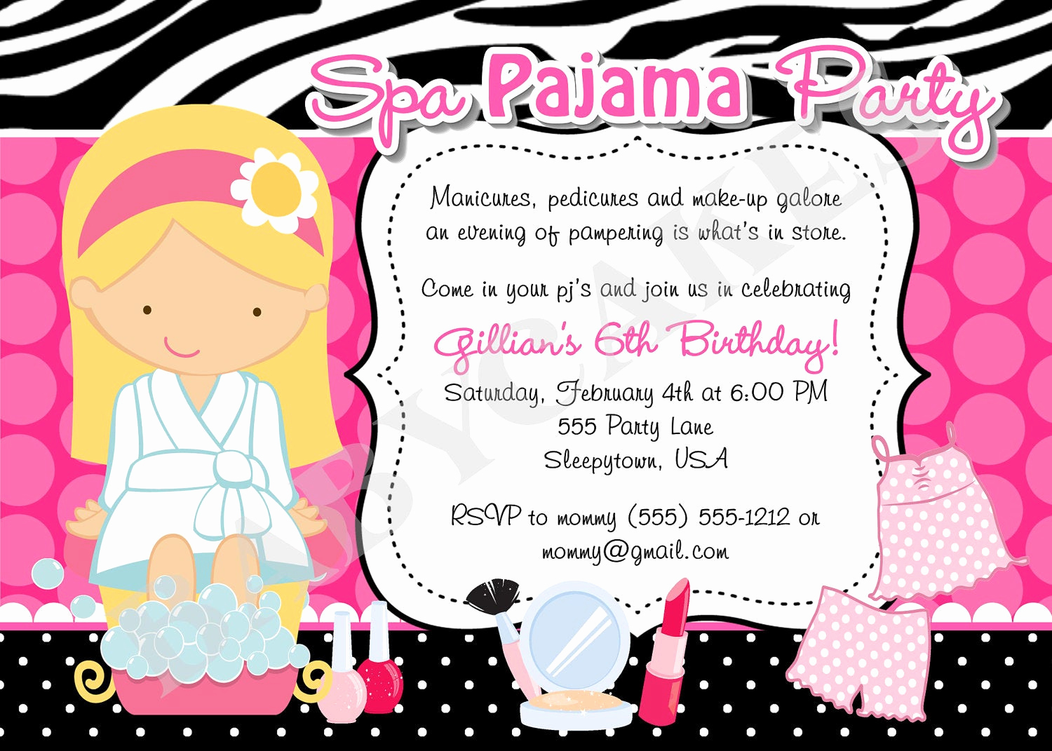 Spa Party Invitation Wording Awesome Spa Pajama Party Invitation Invite Spa Party Sleepover Spa Day