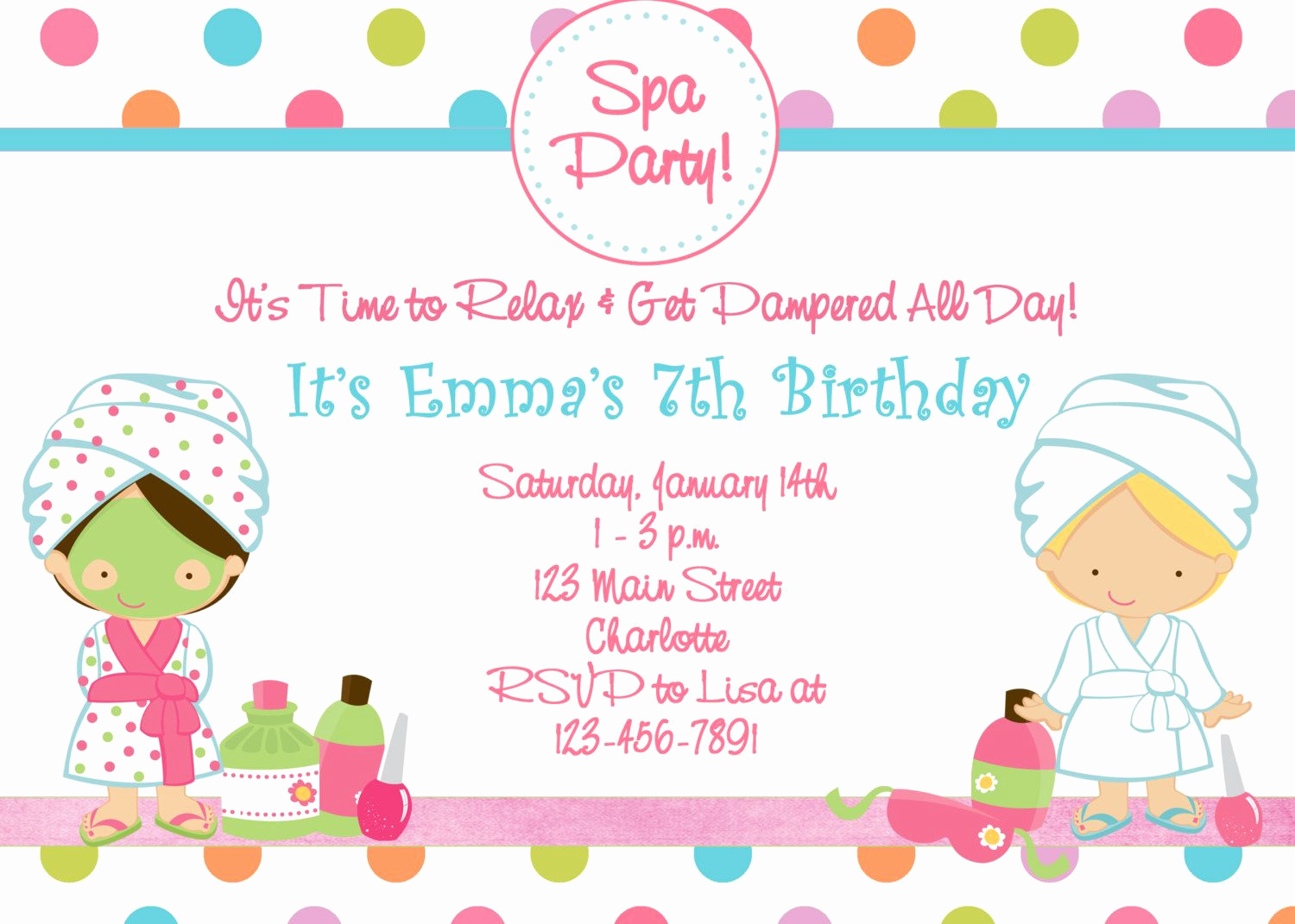 Spa Party Invitation Wording Best Of Free Printable Spa Birthday Party Invitations