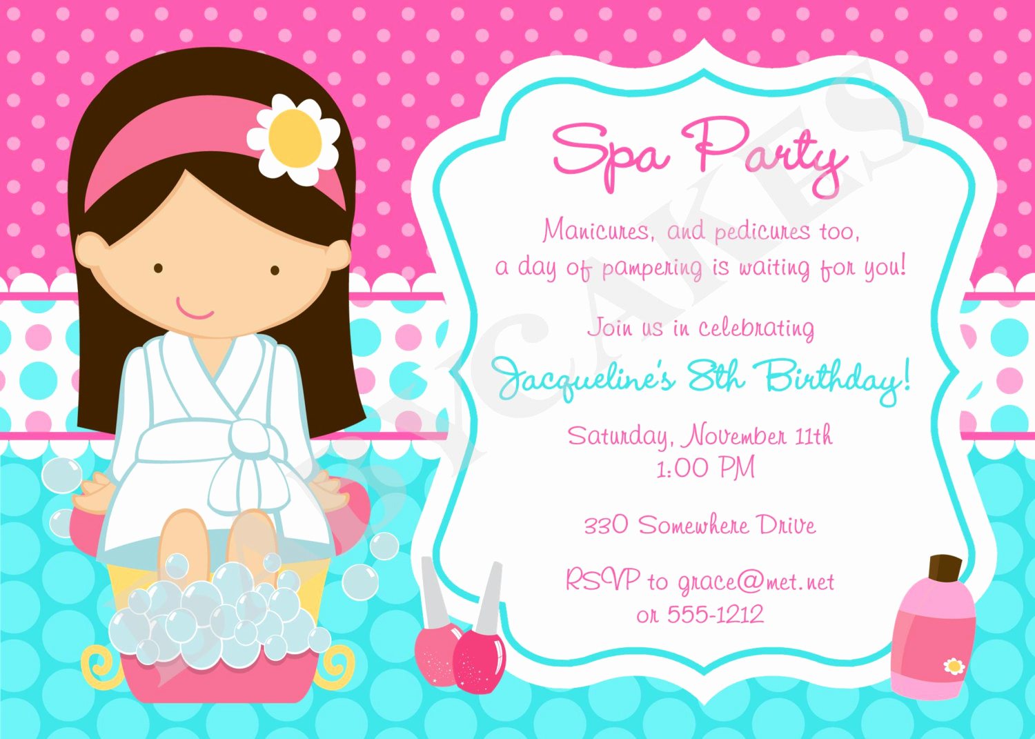 Spa Party Invitation Wording Best Of Spa Party Invitation Spa Birthday Party Spa Invitation