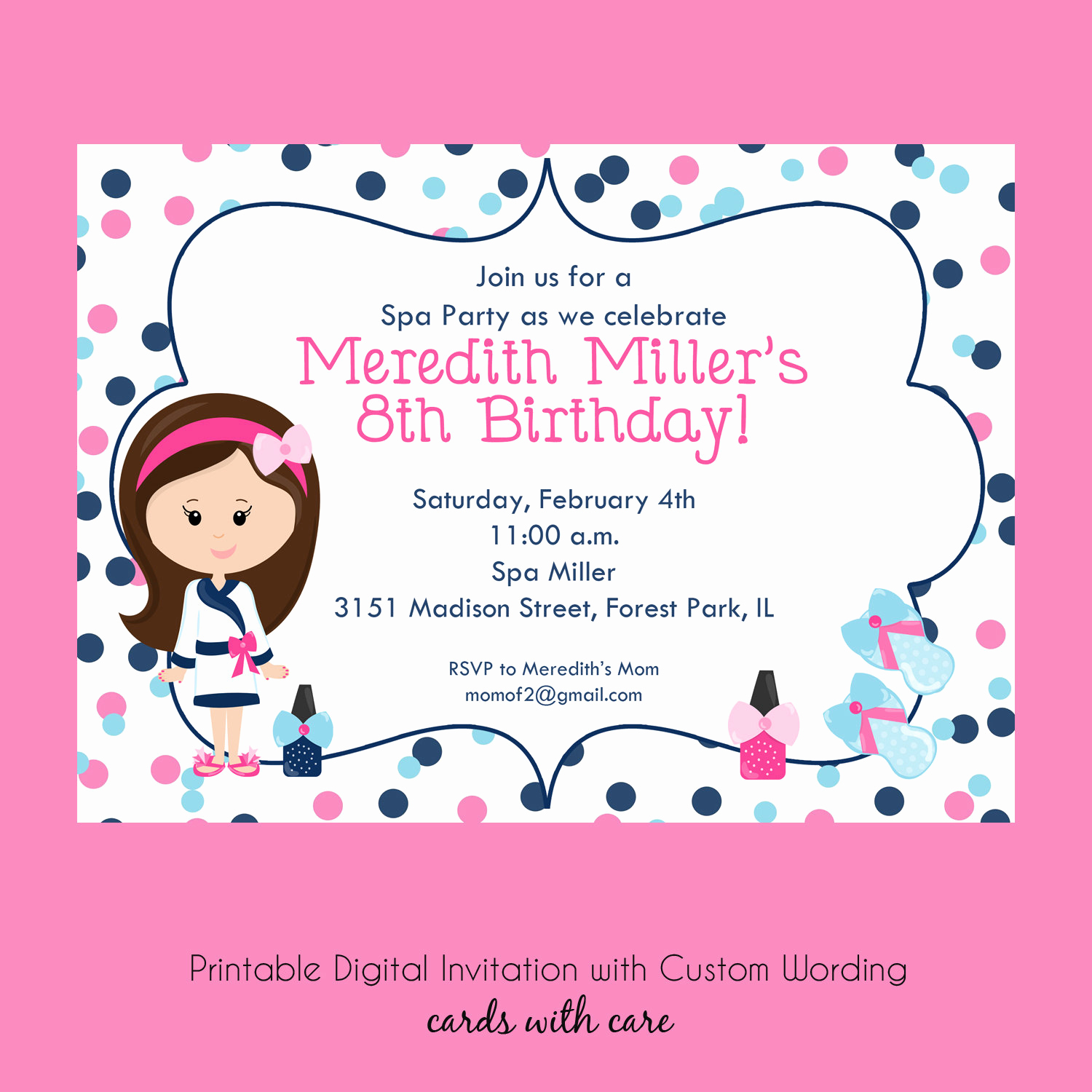 Spa Party Invitation Wording Best Of Spa Party Printable Invitation Girl Birthday by Cardsbycarolyn