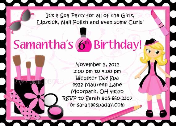 Spa Party Invitation Wording Elegant Spa Party Birthday Invitations Glamour Girl Beauty Day Polka