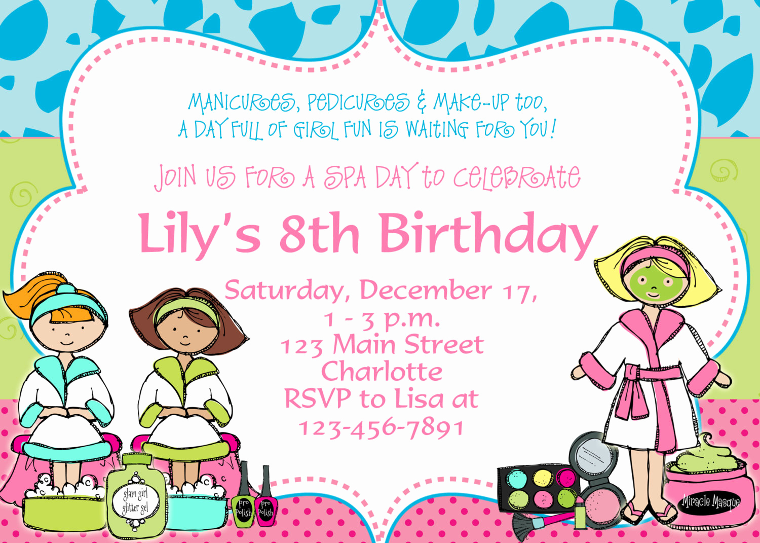 Spa Party Invitation Wording Fresh Spa Birthday Party Invitation Spa Birthday by
