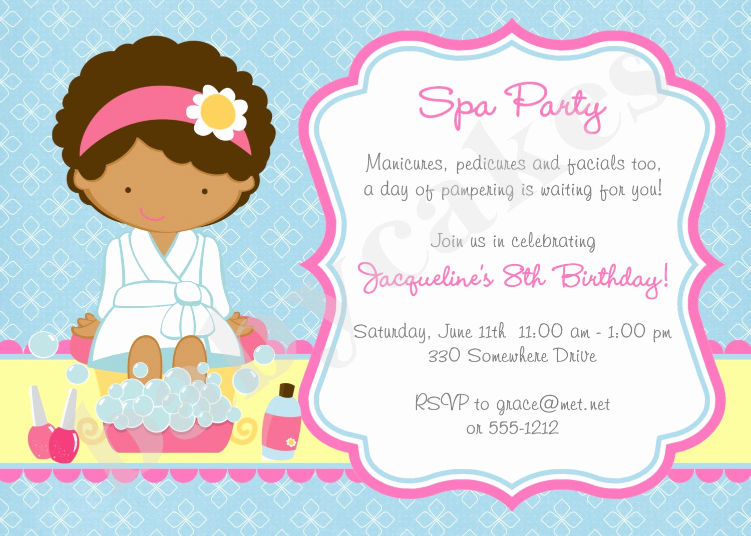 Spa Party Invitation Wording Fresh Spa Party Invitation Spa Birthday Party Invitation Invite Spa