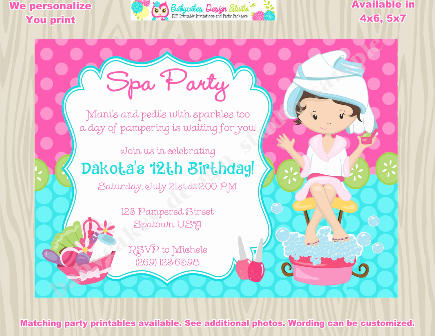 Spa Party Invitation Wording Inspirational Spa Party Invitation Spa Birthday Invitation Invite Spa Day