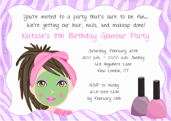 Spa Party Invitation Wording Lovely Spa Makeover Birthday Party Invitations