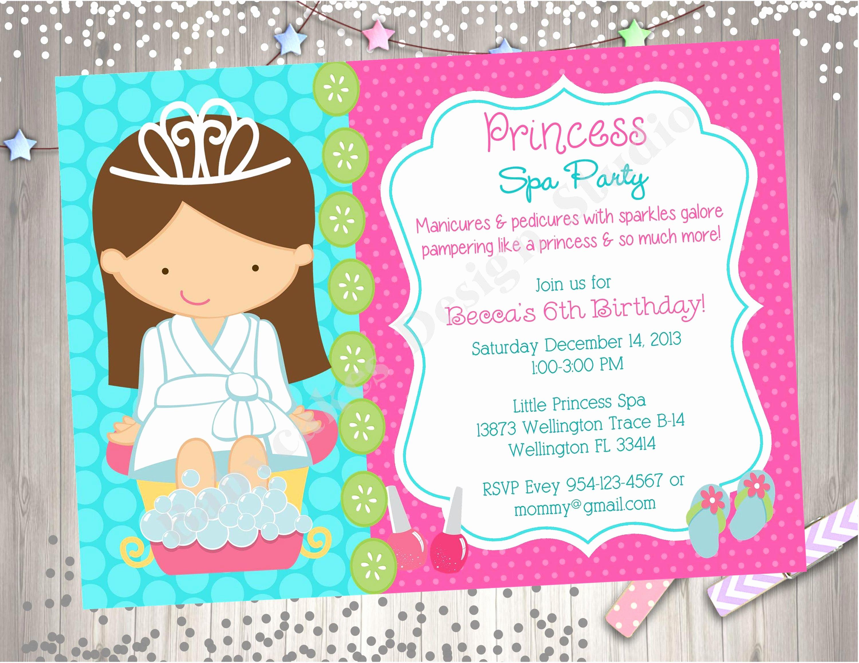 Spa Party Invitation Wording Luxury Princess Spa Party Invitation Choose Your Girl