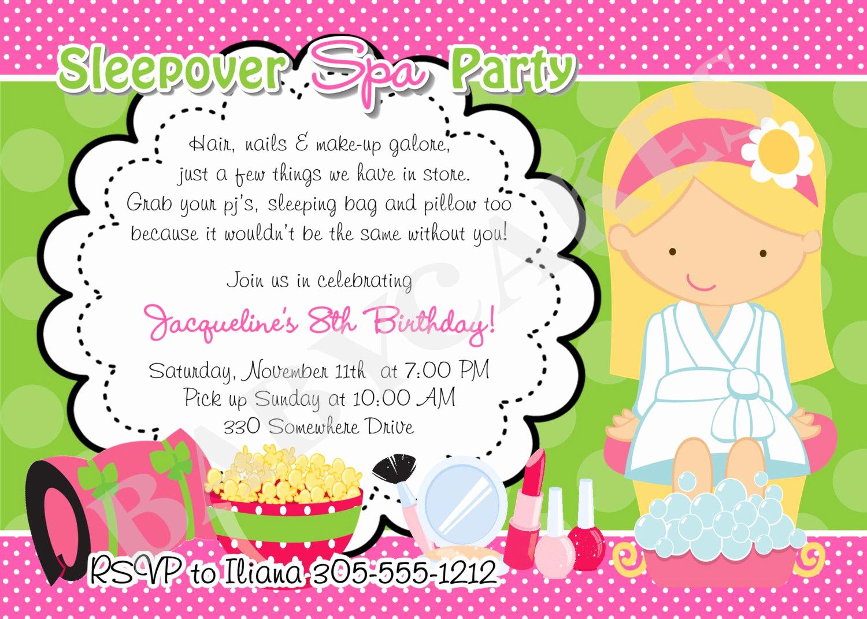 Spa Party Invitation Wording Luxury Sleepover Spa Party Invitation Diy Print Your Own by