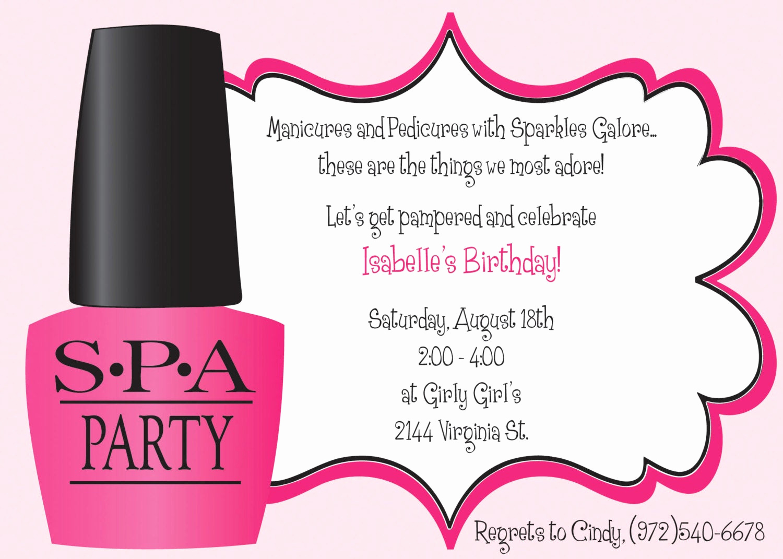 Spa Party Invitation Wording New Ooh La La Spa Party Girls Birthday Invitation Includes