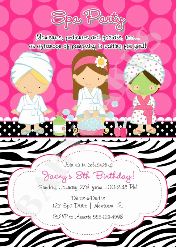Spa Party Invitation Wording New Spa Party Birthday Invitation Invite Spa Birthday Party Choose