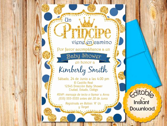 Spanish Baby Shower Invitation Awesome Spanish Prince Baby Shower Invitation Boy Baby Shower